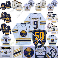 Wholesale manning jerseys resale online - Buffalo Sabres th Patch Golded Jersey Jack Eichel C Jeff Skinner Rasmus Dahlin Home Away Navy White Blank Adult Size S XL All Stitched