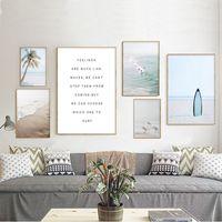 Wholesale paintings oceans resale online - Ocean Landscape Canvas Poster Nordic Style Beach Sea Bird Wall Art Print Painting Surfing Picture Scandinavian Home Decor