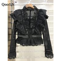 yeni kore dili bluz stilleri toptan satış-Qoerlin Kore Tarzı Tatlı Dantel Bluz Kadın Zarif Ince Contexture Hollow Gömlek 2018 İlkbahar Yaz Yeni Gömlek Kadın Artı Boyutu Y190510