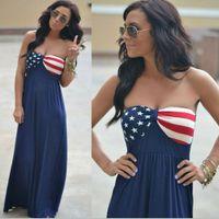 ingrosso vestiti 4 luglio-Womens American Flag Dress Stars Striped senza spalline stampato senza maniche Boho Long Maxi Evening Beach 4th Of July Sundress LJJA2392
