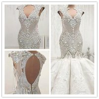 Wholesale sexy luxury crystals wedding dress resale online - 2019 Luxury Beading Crystals Mermaid Wedding Dresses Backless Sleeveless Appliques Ruched Sexy Hollow Out Long Bride Wedding Gowns