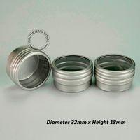 mini contenedor de aluminio al por mayor-Nueva llegada 10g Visible Mini frasco cosmético de aluminio, tapa con ventana, contenedores de metal portátiles de 10 ml Latas de aluminio Envío gratis