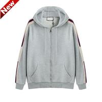 zip up hoodies kleidung großhandel-19SS Grau Italien Designer Modemarken New HOODED ZIP-UP-Sweatshirt mit Logo-STREIFEN-Männer Hoodies Frauen Sweatshirts man Kleidung FG31