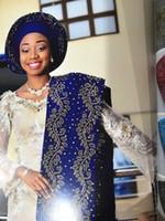 cachecóis de azul-real mulheres venda por atacado-Aso oke headtie com pedras preciosas royal blue tecido de renda africano gele headtie tecido africano para a festa mulheres lenço de cabeça 2 peça