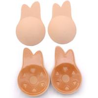 ingrosso reggiseno adesivo lifting del seno-Donne reggiseno push up orecchie di coniglio reggiseno autoadesivo adesivi in silicone capezzolo adesivi sollevare il seno invisibile senza spalline reggiseno nero pad GGA2019