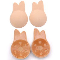 Wholesale adhesive ear for sale - Group buy Women Push Up Bra Rabbit Ears Self Adhesive Bra Silicone Nipple Cover Stickers lift breast Invisible Strapless Blackless Bra Pad GGA2019