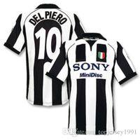 futbol tişörtleri tayland toptan satış-Tay 97 98 Juventus Retro futbol formaları ZIDANE futbol gömlek 1997 1998 DEL PIERO forması DAVIDS Klasik maillot de ayak