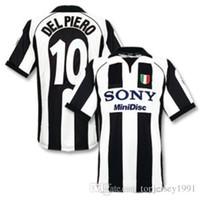 maillots de football thai achat en gros de-Thai 97 98 Juventus maillots de football Retro ZIDANE Maillot de foot 1997 1998 DEL PIERO jersey DAVIDS classique de pied maillot manches courtes