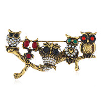 Wholesale brooches pin owl for sale - Group buy Fashion Jewelry Alloy Europe and America Five Owl Brooch Pearls Rhinestone Crystal Owl Brooch Women Scarf Pins Pretty Gift Buckle Pin