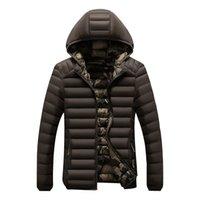 hoodies equipados coreano venda por atacado-Casaco de inverno homem parka outono casacos hoodies disjuntor do vento para baixo casacos de espessura quente sobretudo slim fit estilo coreano 2019