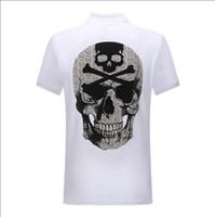 camisas de tiempo al por mayor-Comercio al por mayor de ocio de los hombres de algodón de gran tamaño de manga corta camiseta de verano solapa polo camisa Phillip Plain diseñador envío gratis # 6882