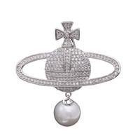 ingrosso nuovi accessori korea-2019 Corea del sud nuovo high-end intarsiato zircone perla spilla globo pianeta donna squisito pin giacca di alta qualità con accessori