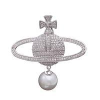 broche corea al por mayor-2019 Corea del Sur nueva gama alta con incrustaciones de circonio perla globo broche planeta de la mujer pin exquisito chaqueta de alta calidad con accesorios