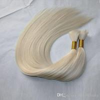extensiones de cabello rubio blanco al por mayor-100g / bundle 3bundles / lot Extensiones de cabello negro natural blanco rubio puro brasileño 100% cabello humano a granel