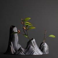handgefertigte keramik großhandel-Mode Klassisch Schwarz Keramik Vase Retro Vase Container Einfache Europäische Mittelmeer Steigung Handgefertigte Keramik