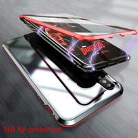 telefone de sucção dupla face venda por atacado-Para Samsung S8 9 10 Plus ímã Rei escudo do telefone Nota 8 9 frente e verso borda de metal de vidro de sucção magnética Prisma 2 geração