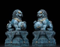 Wholesale fu foo dogs for sale - Group buy 9 quot Copper Painted Painting Feng shui Guardian Evil Door Beijing Fu Foo Dog Lion Pair