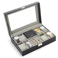caixa de comprimido de retângulo metálico venda por atacado-Caixa de relógio colar de jóias anel de armazenamento de couro pu caixas de armazenamento trinket caixas de armazenamento