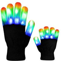 ingrosso guanti di rave neri-Guanti Flash LED Five Fingers Light Ghost Dance Black Bar Stage Performance colorato Rave Light Finger Guanti di illuminazione Glow Lampeggiante DHL Nuovo