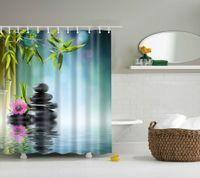 kaliteli duş perdeleri toptan satış-Yüksek kaliteli SPA Su Geçirmez Duş Perdesi Dijital Baskı Banyo Dekorasyon Şok Peyzaj Duş Perdeleri 180 * 180 CM