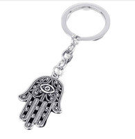 metal şeytan göz takılar toptan satış-30 adet / grup Anahtarlık Anahtarlık Takı Gümüş Kaplama Nazar Hamsa Fatima El Charms kolye Anahtar aksesuarları için 19 * 17mm