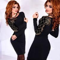 siyah kol kolları toptan satış-Kol Siyah Mahkemesi Tezhip Baskı Uzun Kollu Tişörtlü Elbise