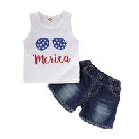 erkekler için rahat yelek toptan satış-Yaz Çocuk Giyim Bebek Erkek Giysileri Rahat Kolsuz Baskı Yelek Tops + Denim Şort Temmuz Kostüm Set Dördüncü