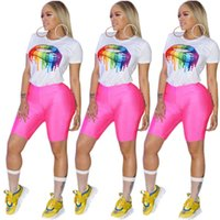 sexy frau marke t-shirt großhandel-Frauen Sommer Top Tees Sexy Farbe Lippen gemalt T-Shirt Kurzarm Rundhals Marke Mode Regenbogen Lip Casual T-Shirt S-3xl Plus Größe A3134