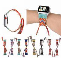 relógios de mão para as mulheres venda por atacado-Nylon tecido colorido banda para apple watch 38 mm / 40 mm / 42 mm / 44 mm criativas feitas à mão trançado correias para apple watch band