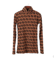 yüksek boyunlu örgü toptan satış-Kadın gömlek Klasik moda marka sıcak Ins Bayanlar Seksi mektubu baskı Yumuşak streç İnce Yüksek boyun mesh en OL İş bluz