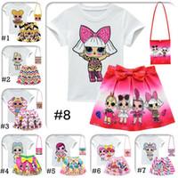dhl stilleri giyim toptan satış-DHL LOL Kızlar 10 Stil 3-10Y Çocuk kıyafetler 3pcs / set tshirt + etek + torbayı LOL Sürpriz Kızlar Etek Tee Suit INS Bebek Yaz Giyim Seti Takımları