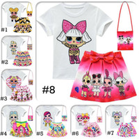 Wholesale gray baby bag for sale - Group buy LOL Girls Suits Style Y LOL Kids Outfits set tshirt skirt bag LOL Surprise Girls Skirt Tee Suit INS Baby Summer Clothing Set