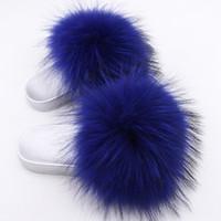 горячая обувь продавца оптовых-Hot Sellers New Women Fur Slippers  Real raccoon Fur Beach Sandal Shoes silvery shoe sole Slippers Fluffy Comfy Furry