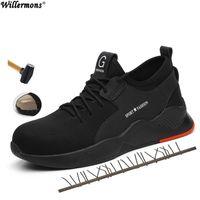 tampa média venda por atacado-2019 Plus Size Bainha De Aço Dos Homens de Aço Inoxidável Sapatos de Trabalho Protetora Botas Curtas Dos Homens de Aço Inferior Sole Segurança Indestrutível Sapatos