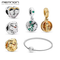 Wholesale vintage 14k charm resale online - New Authentic Sterling Silver Vintage Lion King style heart Charms golden Beads Fit Bracelet Bangle necklace DIY pendant Jewelry making