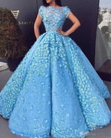 robes de soirée décolleté floral achat en gros de-Nouvelle mode magnifiques robes de soirée de perles pure décolleté 3D Floral Applique A-ligne de bal de tulle robes robe de tapis rouge robes de célébrité