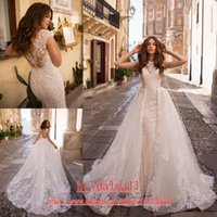 Wholesale bridal wedding dress organza for sale - Group buy Sexy Mermaid Wedding Dresses With Detachable Skirt Appliques Tulle Overskirts Wedding Gowns Button Back Bridal Dress vestidos de novia