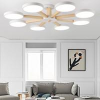 ingrosso lampada da disegno in legno-Macaron Plafoniera per soggiorno LED Modern Living Room Bedroom Home Decoration Lampada da interno Design Art Creativo Legno Iron -I87