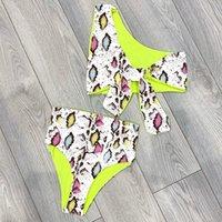 ingrosso set di bikini da stampa di leopardo-Bikini sexy monospalla 2019 Costumi da bagno donna Costume da bagno stampa serpente brasiliano Bikini a vita alta Set costume da bagno push up leopardo Y19072601