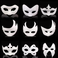 ingrosso maschere di mascheratura disegnate-Maschere a mano fai-da-te maschera di carta dipinta Halloween bianco maschera per il viso corona farfalla maschera in bianco cosplay blan kid disegnare maschere per feste oggetti di scena FFA2609