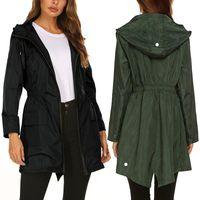Wholesale hiking apparel resale online - Outdoor jacket ladies fashion windbreaker jacket women autumn and winter Slim medium long jacket mountaineering suit hooded Outdoor Apparel