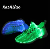 ingrosso ha portato la sneaker 46-kashiluo EU # 25-46 Scarpe led Sneakers incandescenti ricaricabili USB Fibre ottiche Scarpe bianche per ragazze ragazzi uomini donne scarpe da sposa da festa Y18110304