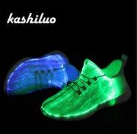 sapatilha led 46 venda por atacado-Kashiluo ue # 25-46 led shoes usb cobrável brilhante tênis de fibra óptica sapatos brancos para meninas meninos homens mulheres festa de casamento sapatos y18110304