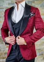 chaquetas de raso color burdeos al por mayor-Traje de solapa de satén negro solapa hombre chaqueta Blazer Paisley Novio Esmoquin Borgoña Hombre Boda Esmoquin Traje de 3 piezas (Chaqueta + Pantalones + Chaleco + Corbata) 54