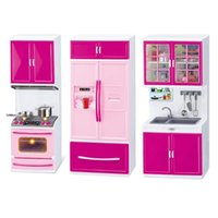 Wholesale girls kitchen play set resale online - Simulation Kitchen Set Children Pretend Play Cooking Cabinet Tools Tableware Dolls Suits Toys Puzzle Educational Doll for Girls