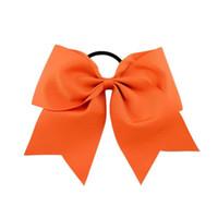 cintas de arcos para niñas al por mayor-20 Unids 8 Pulgadas Grandes Sólidos Cheerleading Ribbon Grosgrain Cheer Bows Lazo Con Banda Elástica / Niñas Goma para el cabello Hermosa