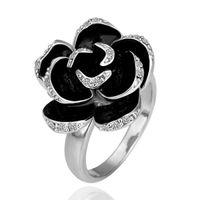 Wholesale platinum jewelry sale resale online - Hot Sales K Platinum Plated Women Elegant Camellia Rings Genuine Austrian Crystal Fashion Costume Jewelry for Women