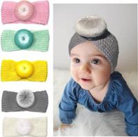 bebek kafa bandı tığ işi toptan satış-Bebek Örgü Kafa tığ Üst Düğüm Elastik Türban Hairband Bebek Kız Başkanı Wrap Düğüm Saç Aksesuarları Bantlar KKA6587