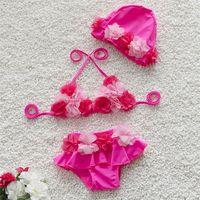 Wholesale yellow swim wear resale online - Child Swimsuit Girl Bikini Lovely Flower Lace Swim Wear With Waterproof Cap High Elasticity Soft Pink Yellow sr C1
