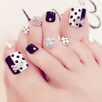 24pcs Nuevo Diseño Senior Bride Wedding Toe False Nail Mariposa Blanco Y Negro J31